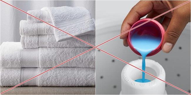 Dùng nước xả vải cho khăn mặt