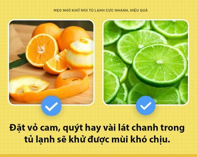 Vỏ cam, quýt có thể khử mùi hôi trong tủ lạnh hiệu quả