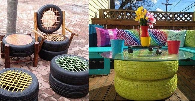Tái chế bánh xe thành bàn ghế, vật dụng hữu ích