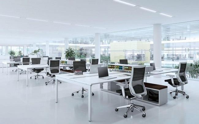 Tận dụng tối đa ánh sáng tự nhiên, để không khí lưu thông liên tục sẽ tạo cảm giác thoải mái và sáng sủa cho văn phòng