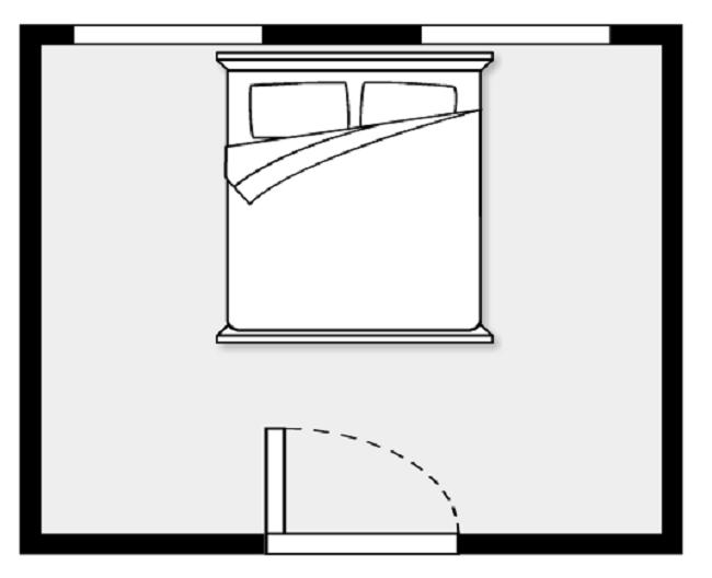Theo phong thủy phòng ngủ, giường đặt thẳng hàng với cửa ra vào phòng là điều tối kỵ.